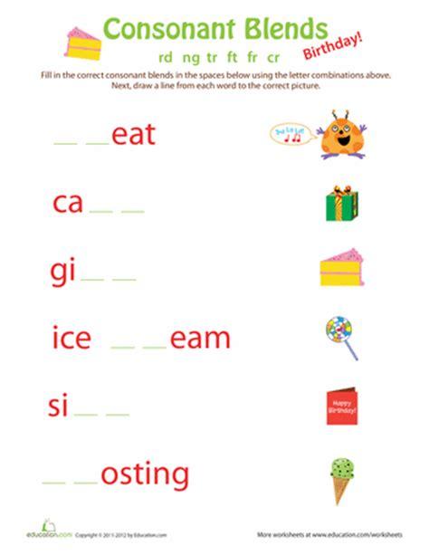 Consonant Blends Worksheets by 1st Grade Consonant Blend Worksheets Education