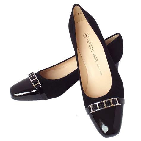 heel shoes kaiser arla s low heel shoes in black suede