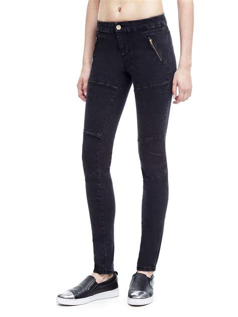 black biker style guess biker style skinny jeans in black save 20 lyst
