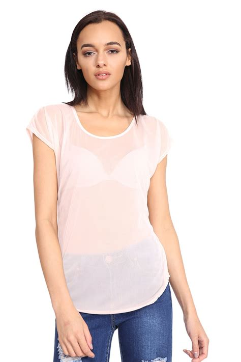 See Through Mesh Sleeve Top new womens see through cap sleeve sheer mesh piped