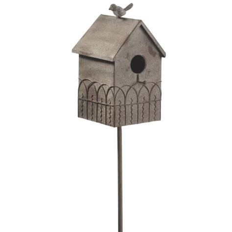 House Porch Functional Metal Fence Bird House Yard Art Garden Stake