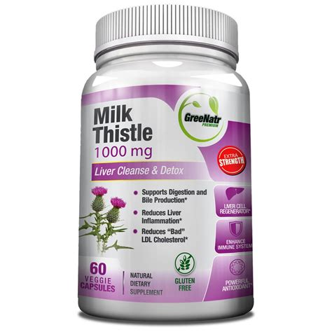 Liver Detox Symptoms Milk Thistle by Milk Thistle 1000 Mg Liver Cleanse Detox Greenatr