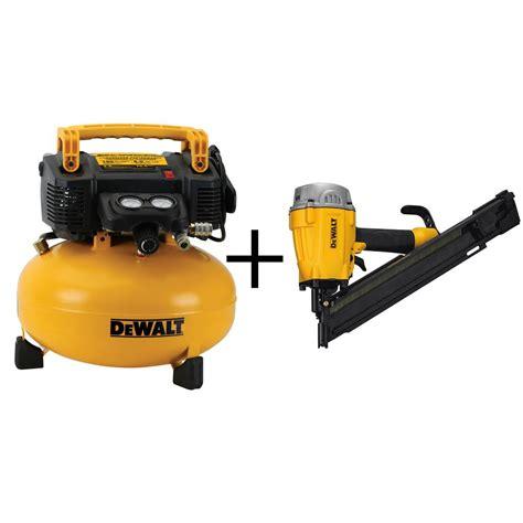 dewalt  gal electric air compressor  bonus pneumatic  degree framing nailer