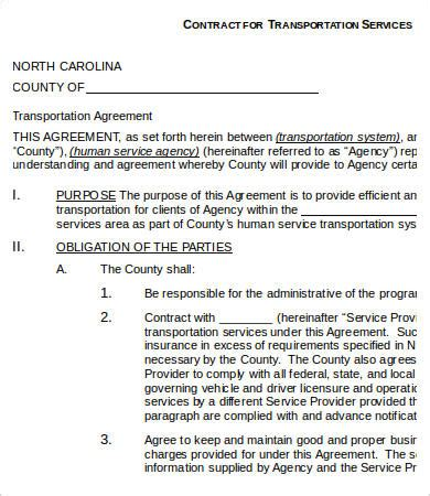 transportation agreement template service contract templates 18 free word pdf documents