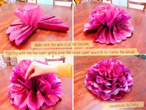 How To Make Flat Tissue Paper Flowers - flat poof pom pom flower tissue paper can be made with
