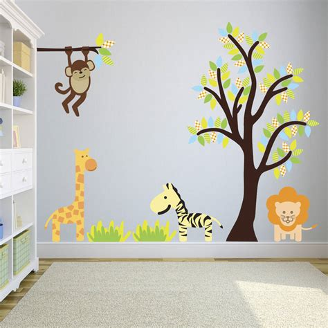jungle tree wall stickers bright jungle tree wall stickers by mirrorin