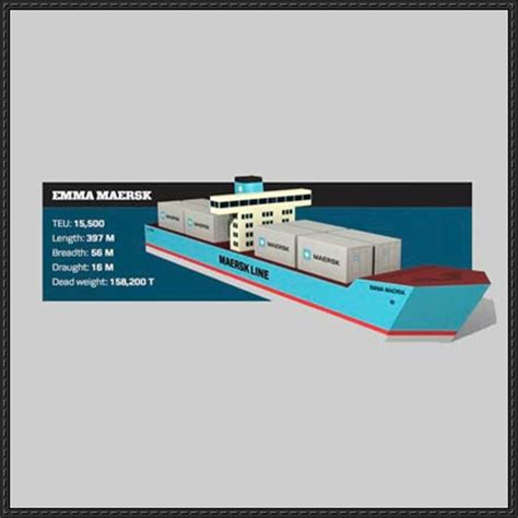 Free Papercraft Downloads - maersk container ship paper model free