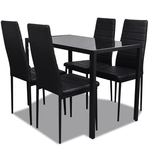 Black Dining Table And 4 Chairs Vidaxl Co Uk Contemporary Dining Set With Table And 4 Chairs Black