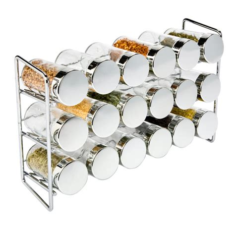 18 Jar Spice Rack by Polder Chrome 18 Bottle Spice Rack The Container Store