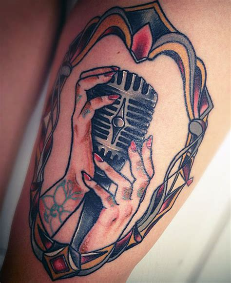 microphone tattoo hand jacqui sandell frame hands microphone thigh tattoo