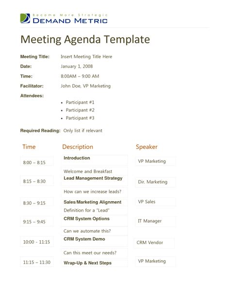 meeting agenda outline free online contracts templates
