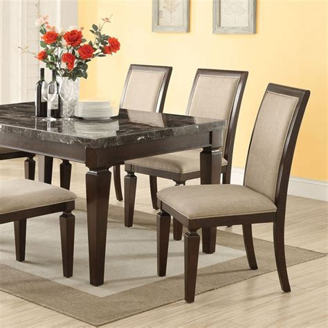 Black Marble Dining Room Table by Dreamfurniture Agatha Black Marble Top Dining Table Set