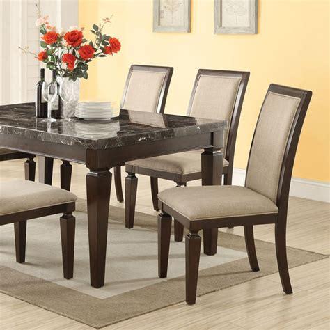 dreamfurniture agatha black marble top dining table set