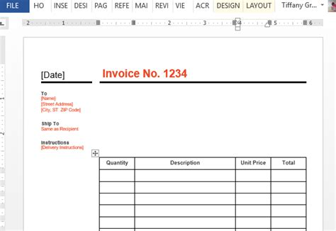 Standard Business Invoice Template For Word Create A Simple Invoice Template In Word