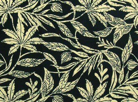 indian block print fabric cream leaf pattern on black 1