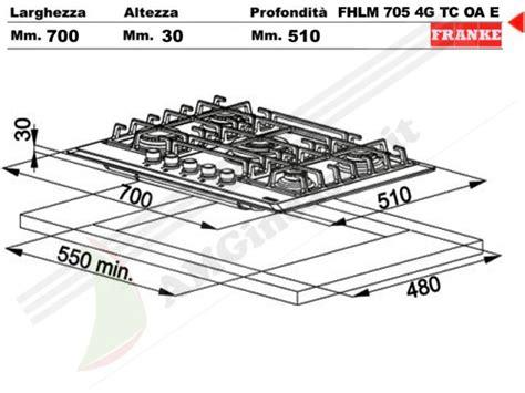 misure piano cottura 5 fuochi 6800076 piano cottura 70 incasso cucina franke