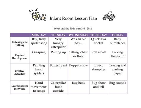 printable lesson plans for infants creative curriculum creative curriculum blank lesson