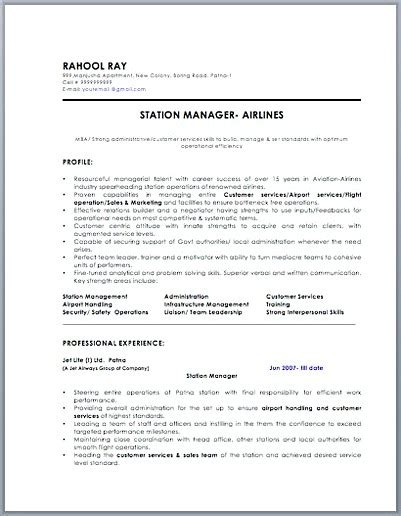 gas station manager resume