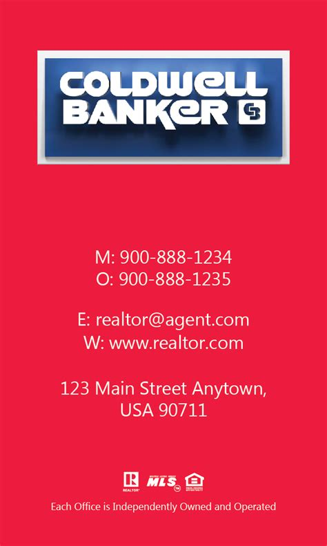 coldwell banker template for business cards vertical coldwell banker business card design 104473