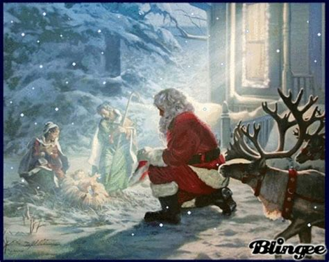 santa kneeling before manger picture 78331479 blingee com