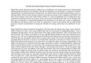 Jean Piaget Essay by Describe And Evaluate Piaget S Theory Of Cognitive Development A Level Psychology Marked By
