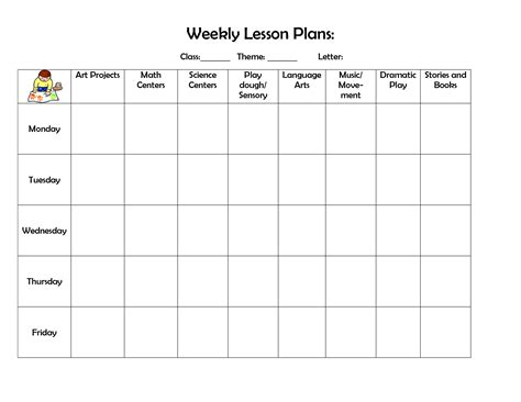 printable lesson plan template weekly more recent planner preschool