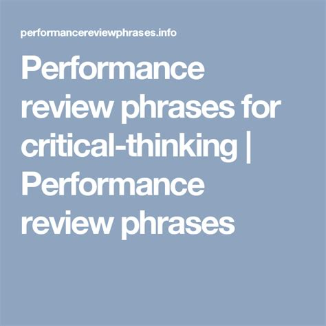 performance review phrases  critical thinking performance review phrases work  work