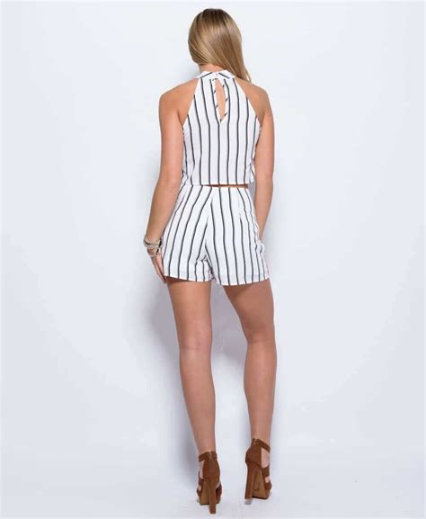 Matching Striped Shorts white stripe print ruffle front high neck top matching