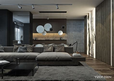 dark interior design a dark and calming bachelor bad with natural wood and concrete