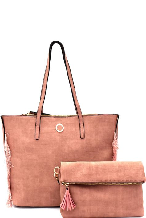 Fashion Selleria Tote Set 2in1 Ac1789 s0528p n pink frayed side detail 2 in 1 shopper tote set with clutch