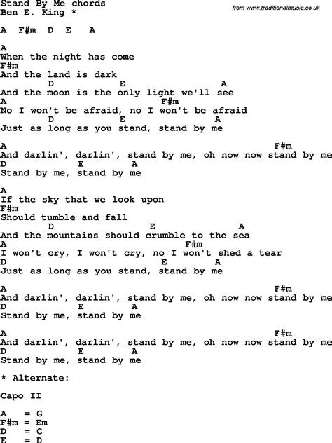 lyrics with chords song lyrics with guitar chords for stand by me