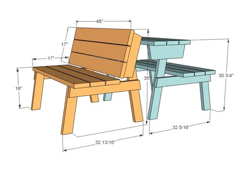 ana white picnic table that converts to benches diy