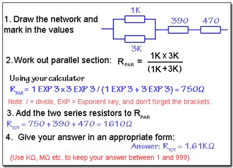 calculate resistor value in series series and parallel resistors