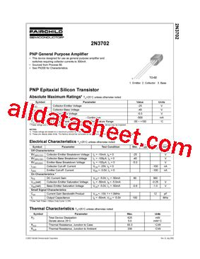 transistor pn2907a datasheet 2n3702 데이터시트 pdf fairchild semiconductor