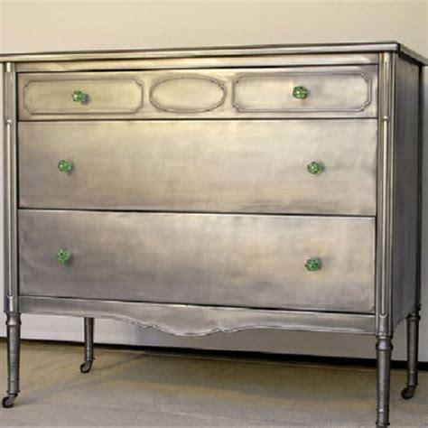 metallic dresser diy makeover painted metallic