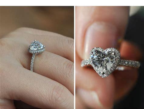 luxury heart shape synthetic diamond engagement ring 2