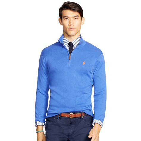 Sweater Polos Zipper Polo Ralph Pima Cotton Half Zip Sweater In Blue For