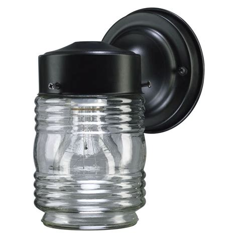 Jelly Jar Wall Sconce Quorum International 5010 15 Black 1 Light Outdoor Wall Sconce With Clear Jelly Jar Shade