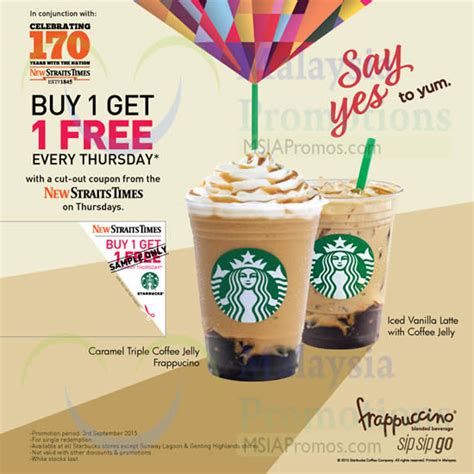starbucks buy 1 free 1 frappuccino 1 day promotion 3 sep 2015