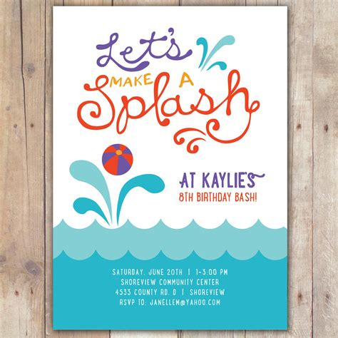 word birthday invitation template summer invitation template summer pool