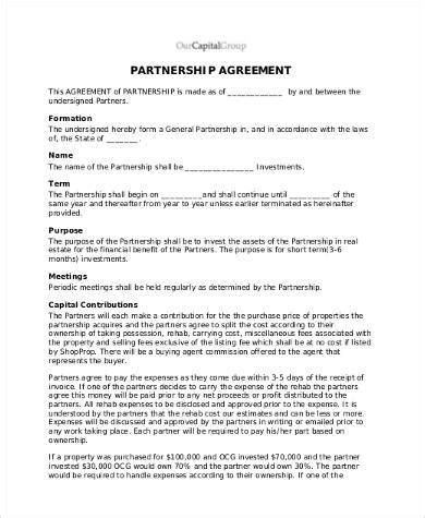 property partnership agreement template free agreement form sles 30 free documents in word pdf