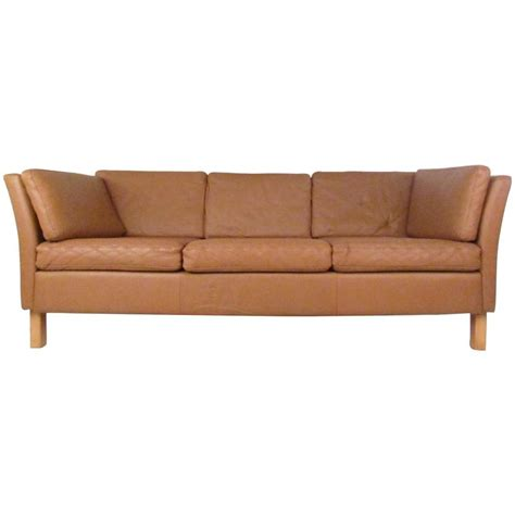 danish modern leather sofa mid century mogensen style