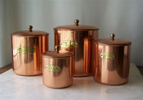 copper canisters kettle pots nesting vintage country kitchen vintage copper canister set brass label stainless steel