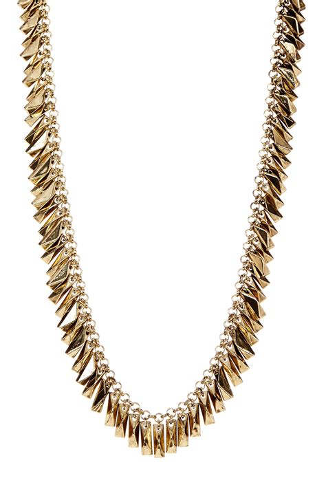house of harlow 1960 pyramid bar necklace in metallic lyst