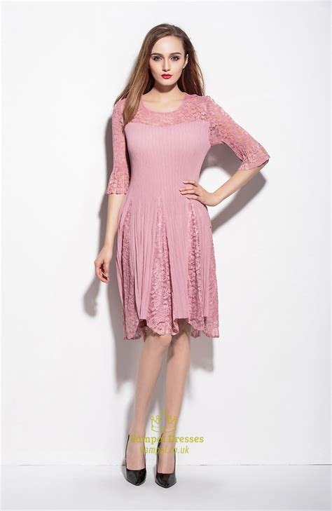 pink lace illusion neckline   dress   sleeve