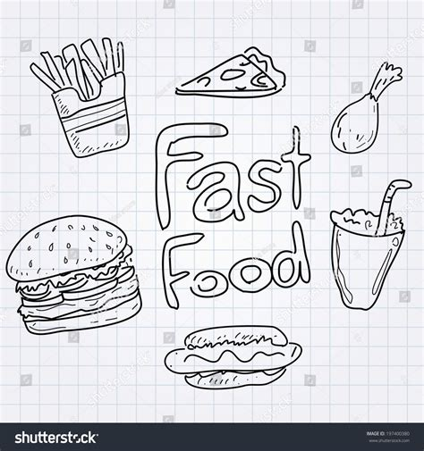 fast doodle fast food doodle set stock vector illustration 197400380