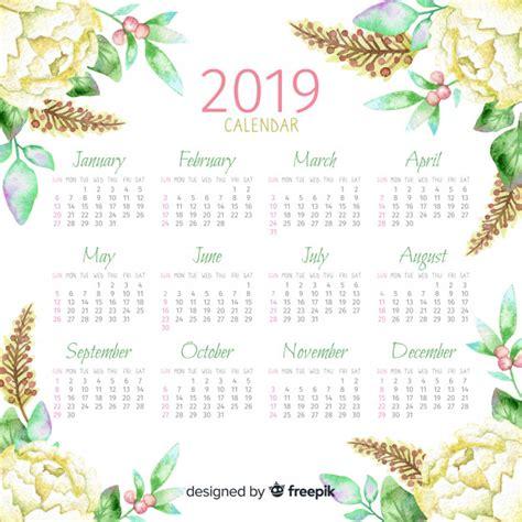 watercolor floral calendar vector