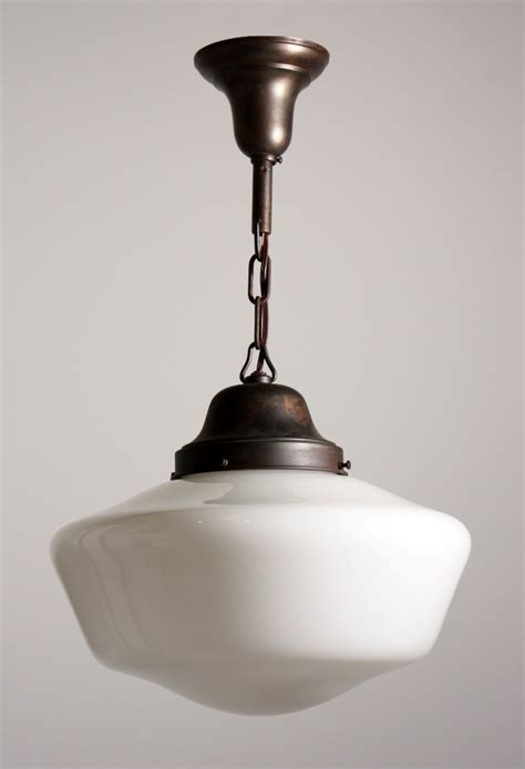 Schoolhouse Pendant Light Fixture Antique Industrial Schoolhouse Light With Glass Globe C 1930 S Nc1053 For Sale Antiques