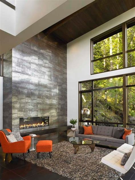 Floor To Ceiling Tiled Fireplace by Great Room With Floor To Ceiling Fireplace Modern