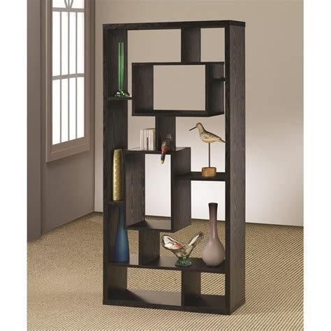 contemporary asymmetrical cube bookcase black finish 800262